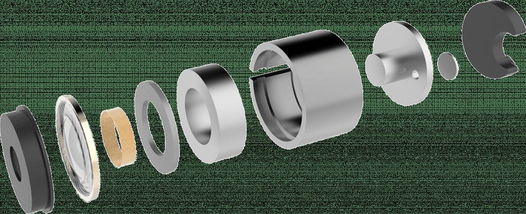 Headphone exploded view Traduki TE-03 Trusonus